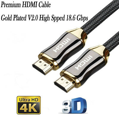 Premium HDMI Cable Gold Plated V2.0 High Speed Ultra HD 4K 3D Audio Video Cable