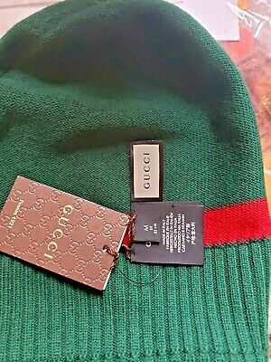 ece8ef3bf Gucci Hat Beanie New Port Tricot Green Red Stripe GG Logo 100% Wool Size M