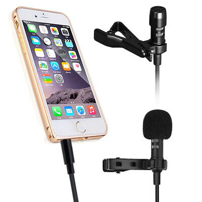 Clip On Lapel Microphone Hands Free Wired Condenser Lavalier Mic 3.5mm Mini HOT