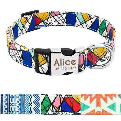 Nylon Personalized Dog Collar Small Large Engraved Buckle Custom ID Name Tag SML