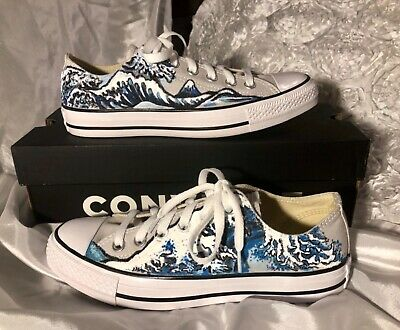 20b46a09b6d3 Great wave inspired hand painted converse shoes size 8