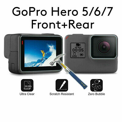Tempered Glass Screen Protector For GoPro Hero 7 6 5 Lens Caps Anti-Scratch 2 PC