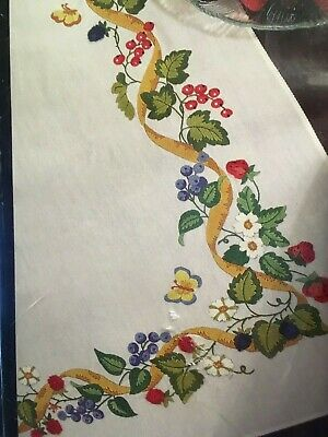 "NEW Bucilla Stamped Embroidery Kit Summer Berries 14"" x 44"" Tablerunner crewel"