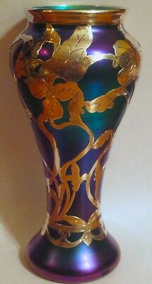 Beautiful Quality Tall Sterling Overlay Blue Iridescent Art Glass Vase
