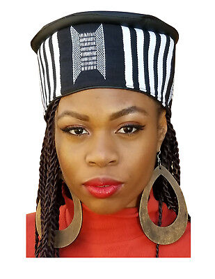 White and Black African Hand Woven Kente Kufi Hat With Faux Leather DPH594W