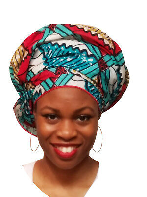 Red, Turquoise African Print Ankara Head wrap, One Size  DP3764