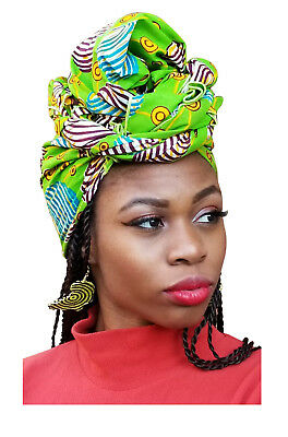 Bright Green Multicolor African Print Headwrap One Size DP3843H