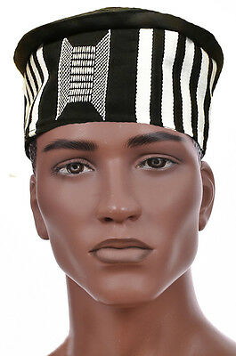 Black and White African Hand Woven Kente Kufi Hat with Faux Leather