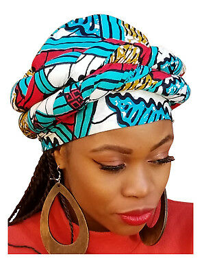 Red, Turquoise African Print Ankara Modu Hat Pre-tied Head wrap DPH3551PT