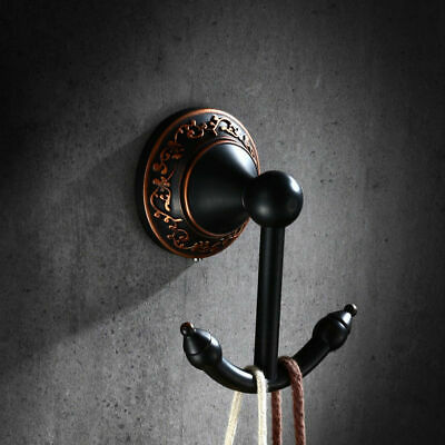 Retro Solid Brass Wall Mounted Dual Robe Hook in Antique Black Oil Rubbed Bronze