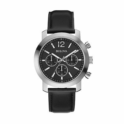 Brand New Bulova Men's Leather Chronograph Watch (96A159)