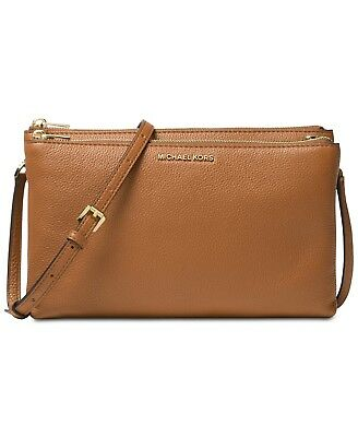 8515646df1eb Michael Kors Jet Set Travel Double Gusset Brown Vanilla crossbody  228