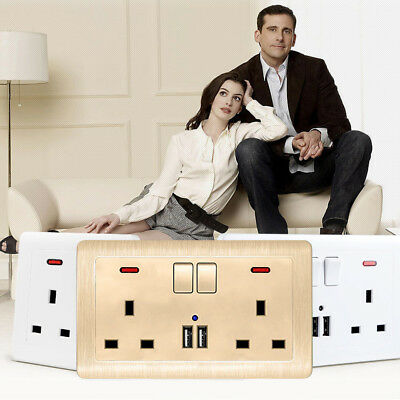 Double Wall Socket 2 Gang 2 USB Ports Screwless Slim Flat Plate UK Plug Acces
