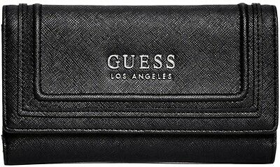 NEW GUESS BLACK Ontario Double Id Clutch Wallet Purse Fits