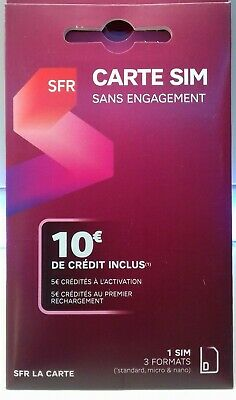 carte sim   SFR  sans engagement 10 € credit inclus