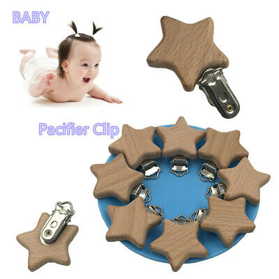 Infant Natural Color Pacifier Clip DIY Pacifier Chain  Dummy Holder Beech Wood