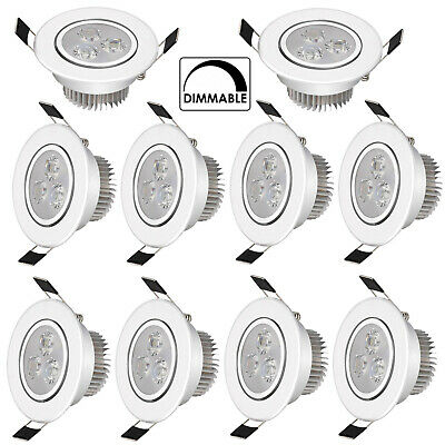 10X 3W Dimmable LED Ceiling Downlights Angle Adjustment Recessed Spotlights Bulb