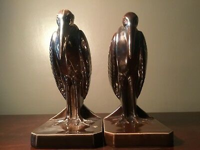 French Art Deco Pair  Ceramic Marabou Bird  Bookends Numbered To Base