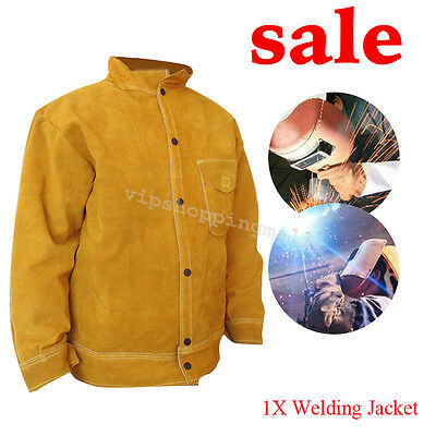 top Cowhide Leather Welder WELDING JACKET Leather for Protective Flip-up Collar