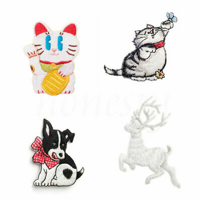 Iron Sew on Embroidered Badge Cute Animal Lucky Cat Dog Deer Bag Patch Applique