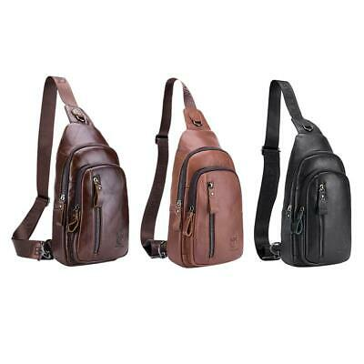 BULL CAPTAIN Men Genuine Leather Waist Chest Pack Crossbody Shoulder Bag Purse