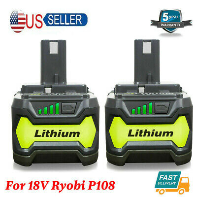 2XFor 18V Ryobi P108 4.0Ah Lithium Ion Battery Pack Replaces P104 P105 P103 P102