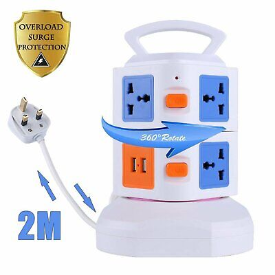 2M 7 Way 7 Gang Surge Protected Tower Socket Extension Lead Cable With 2 Usb 2A