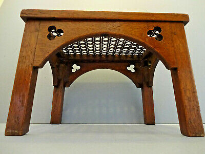 ANTIQUE ENGLISH SOLID OAK ART & CRAFTS CANE & WICKER  FOOT STOOL c 1900-1910.