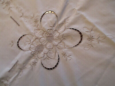 """Ivory Linen Tablecloth w/Fancy Beige Embroidery 51"""" Square, Vintage"""