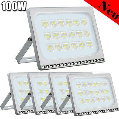 5X 100W LED Floodlight Security Flood Light Outdoor Spotlight Cool White Lamp