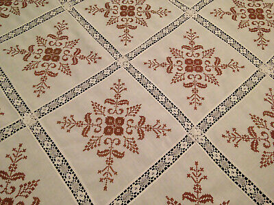 Vintage Hand Embroidered And Crochet White Linen Tablecloth ~ Beautiful