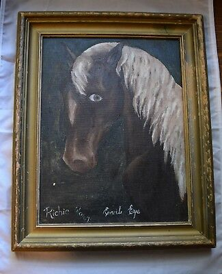 1947 Vintage Whimsical Folk / Outsider Art Horse Oil Painting Titled Evil Eye