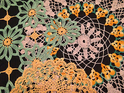 Vintage Hand Crocheted Doilies ~ Collection Of 3 ~ Pretty Colours
