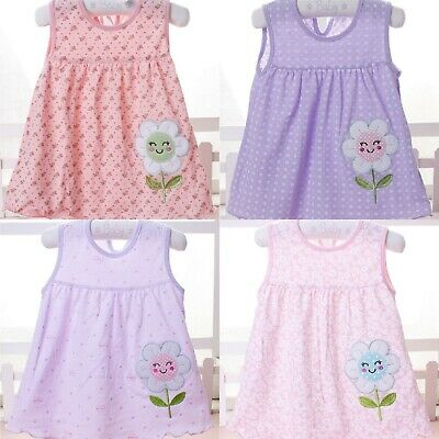Wholesale Job Lot 20 x NEW Cotton Summer Baby PINK & LILAC Dresses in 4 styles