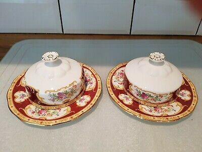 Royal Albert Lady Hamilton Butter Covers On Plates