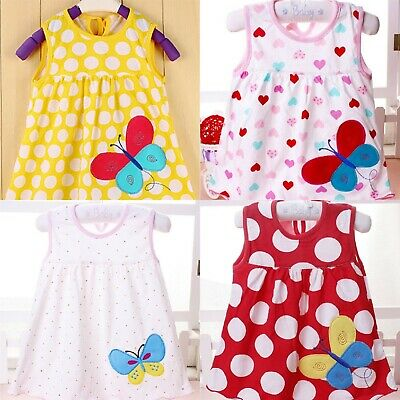 Wholesale Job Lot of 20 x NEW Cotton Summer Baby BUTTERFLY Dresses in 4 styles