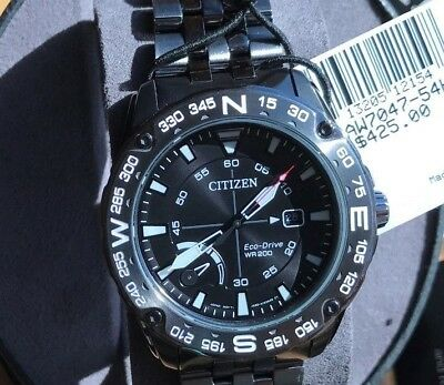 NEW! Citizen AW7047-54H Men's Eco-Drive Black Dial Compass Stainless Steel Watch