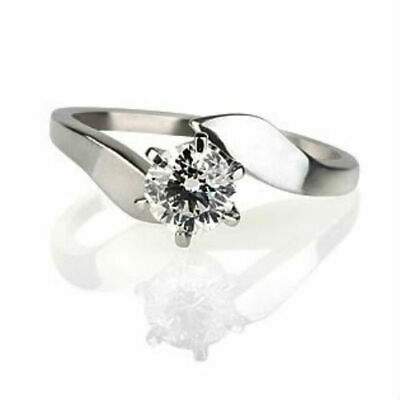 Solitaire Round Cut Certified Real Diamond 0.4 Ct 14K White Gold Proposal Ring