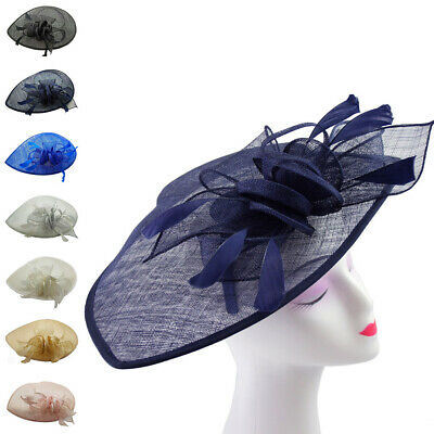 Large Flower Feather Hair Hat Fascinator Headband Wedding Party Royal Ascot Race
