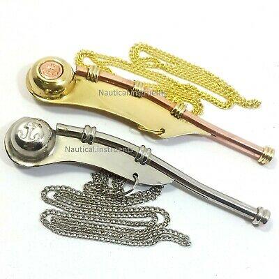 Set of 2 Pcs Nautical Brass boatswain's call, pipe or bosun's whistle Keychain