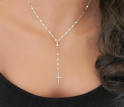 Women Fashion Personality Pendant Simple Y Necklace with Cross Lariat Necklace