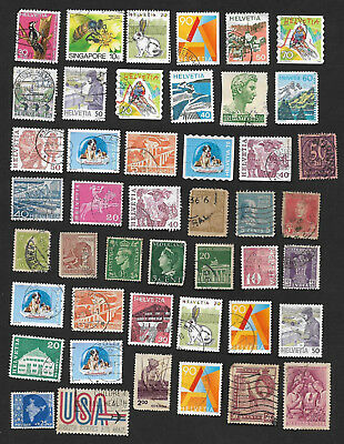 (111cents) World Wide Collection of used Stamps on Piece x 70+