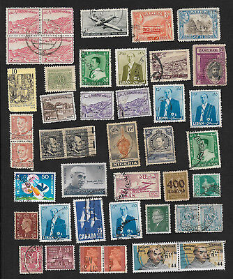 (111cents) World Wide Collection of used stamps on Piece x 65+