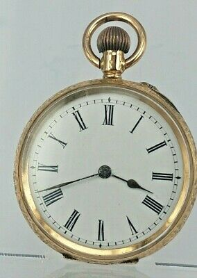 Edwardian 14ct gold pocket watch with ornate case working order