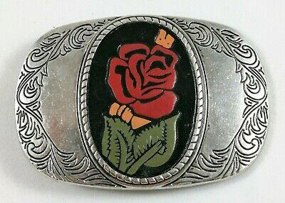 Buckle Belt Bronze Silver Plated & Stamped Painted Leather Rose Oval Ornaments
