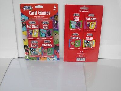 Card Games 4 Pack Donkey Snap Old Maid Children Family Travel Party Bags