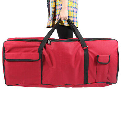 600D Cloth PE Foam Padded Gig Bag for 61-Key Keyboard Electric Piano Red L2D1