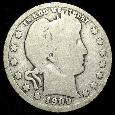 1909 S Barber Silver Quarter 25C Key Date Better Grade $ Nice Coin!