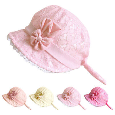 Newborn Infant Christening Bonnet Beach Bucket Hat Baby Girl Sun Summer Cap US