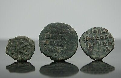 Group of 3 Byzantine Empire Bronze Coins  1000-1100 AD